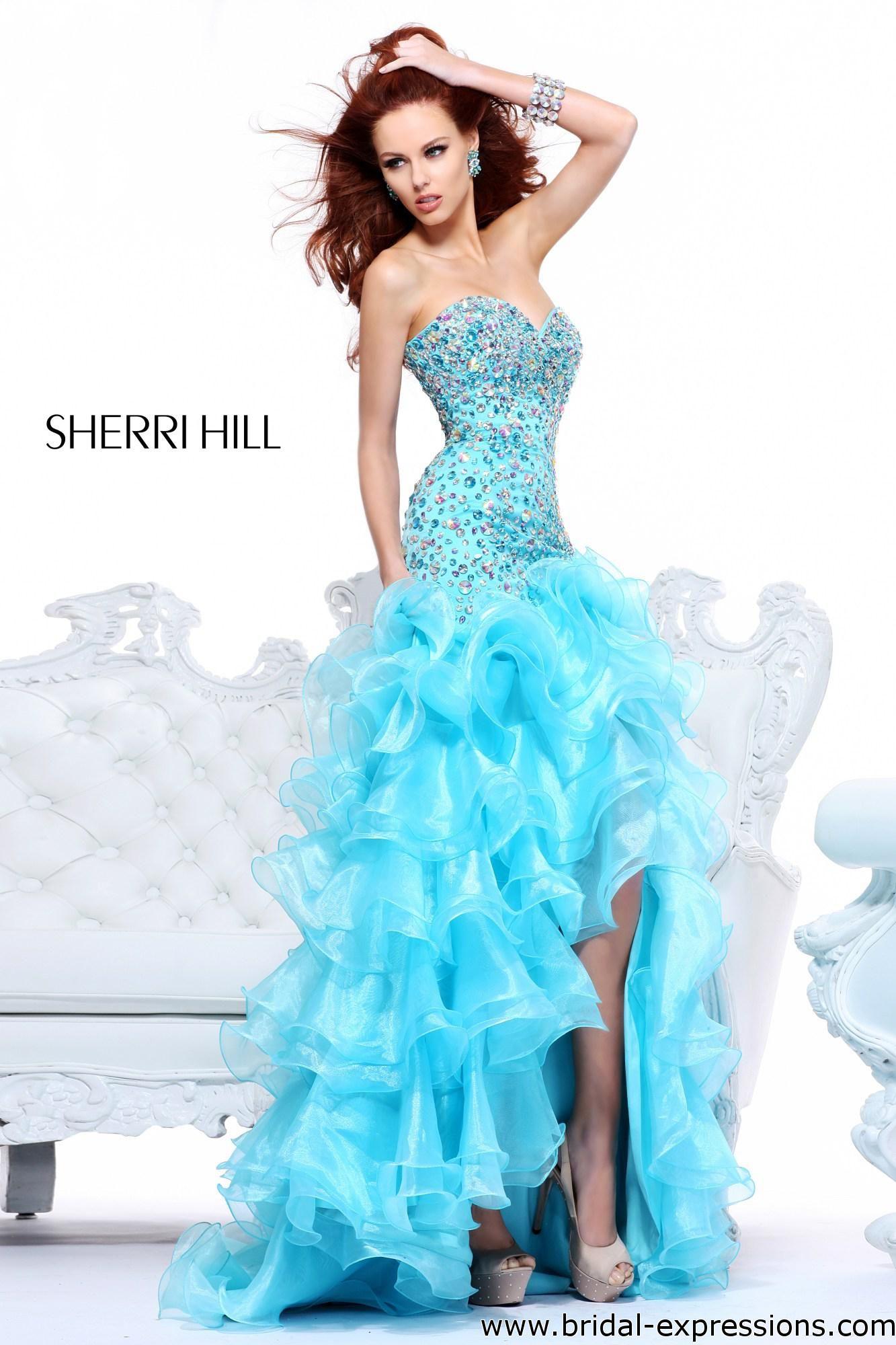 sherri hill beaded ruffle mermaid prom dress | Colour me Turquoise ...