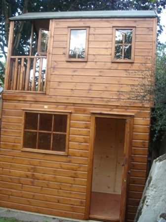 Great Cedar Storage Shed | Wooden Playhouse With Storage Shed Underneath  (PC050835)   Tree House