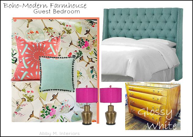 coral and teal guest bedroom | boho modern farmhouse | Abby M. Interiors |