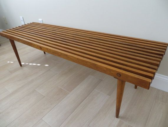 Mid Century Modern Slat Wood Bench Coffee Table By Soulfulvintage