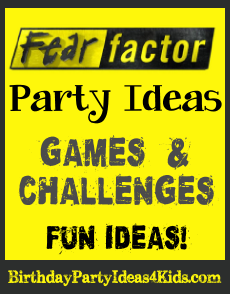 Fear Factor themed birthday party ideas!  Fun Fear Factor games, challenges, activities and ideas for invitations, decorations and more!   Great for boys and girls, kids, tweens and teens ages 6, 7, 8, 9, 10, 11, 12, 13, 14, 15, 16, 17 years old.   http://birthdaypartyideas4kids.com/fear-factor-party.htm