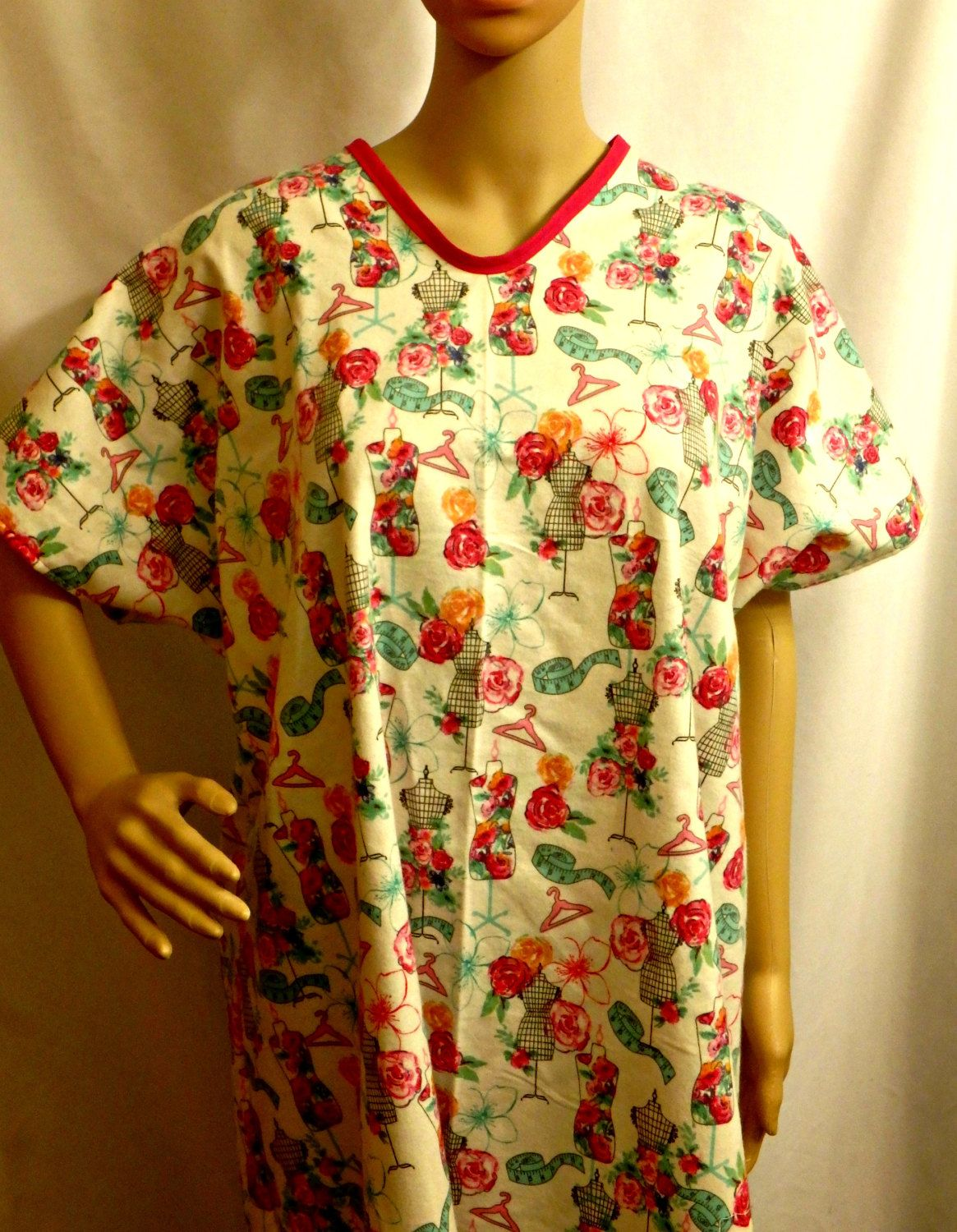 Flannel Hospital Gown IV for Bed bound Fits up to Plus Size FLORAL ...