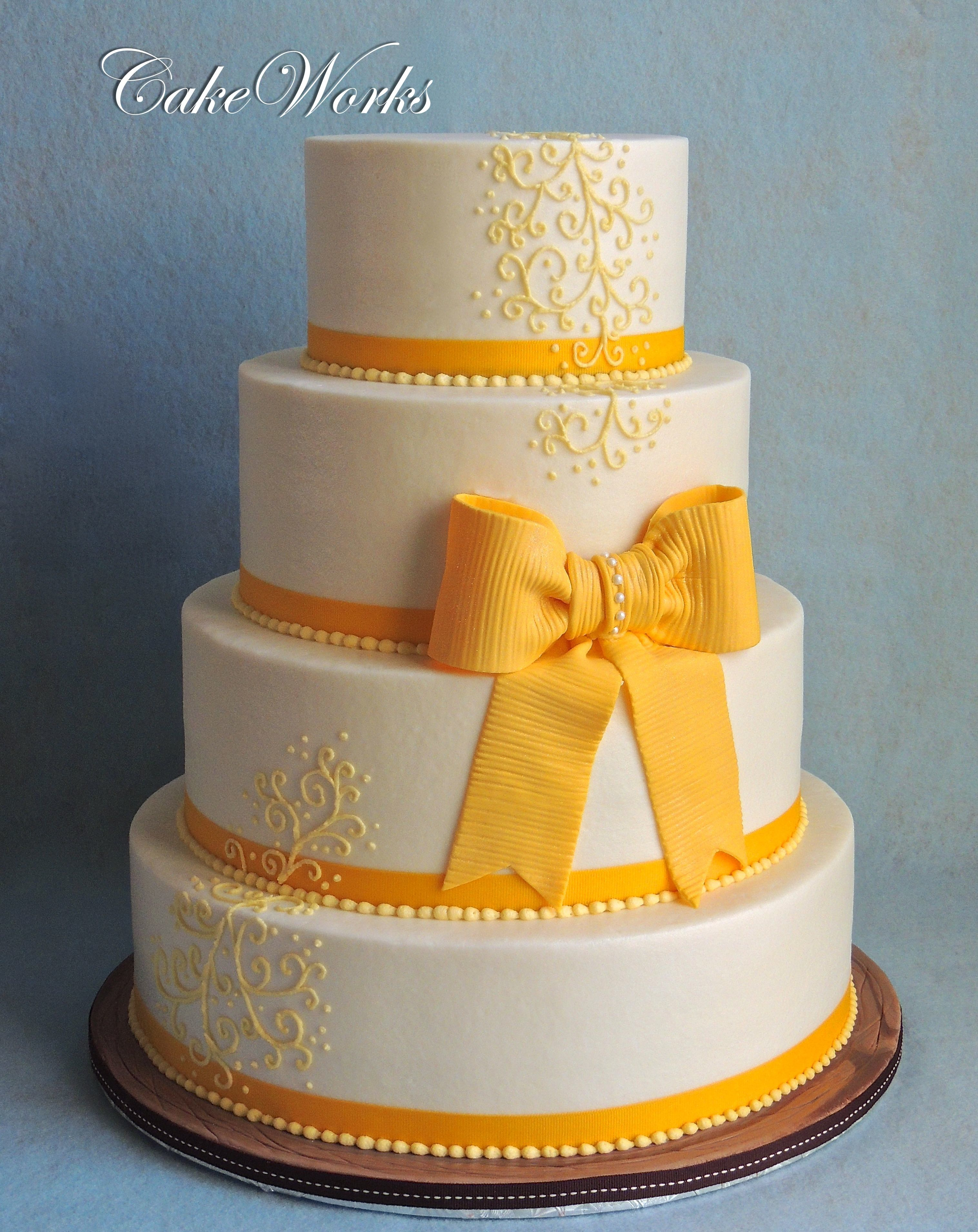 Yellow Bow on Buttercream - All buttercream icing with fondant ...