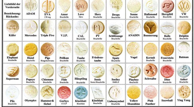 A chart with various MDMA pills, otherwise known as Ecstacy, which ...