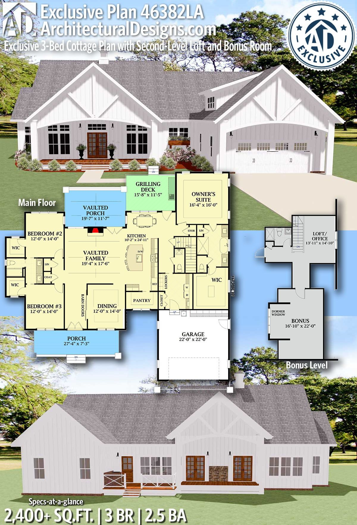 Plan 46382la Exclusive 3 Bed Cottage Plan With Second Level Loft And Bonus Room Cottage Plan House Plans Farmhouse Farmhouse Plans
