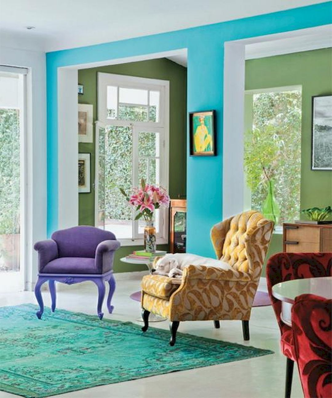 blue bright color living room  diy living room decor