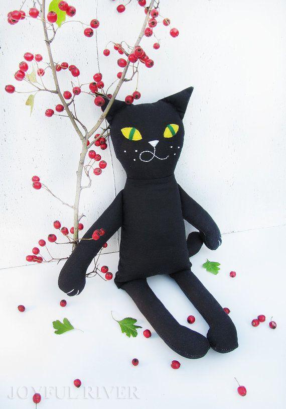 Black Cat Halloween toy Stuffed black cat doll door JoyfulRiver