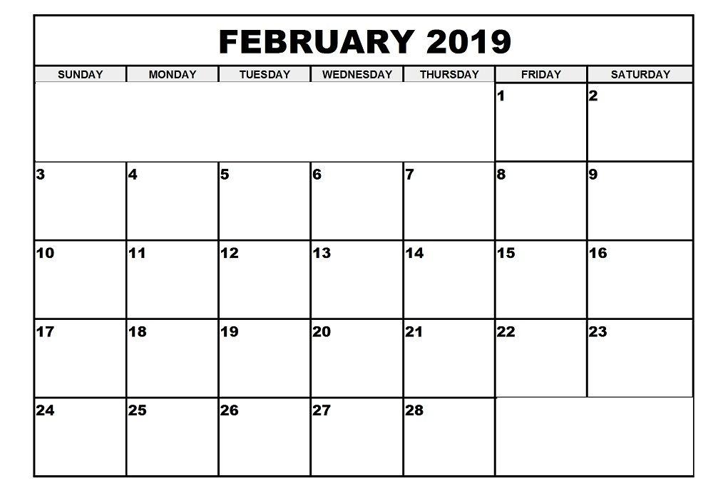 February Calendar 2019 Page February 2019 Calendar Printable