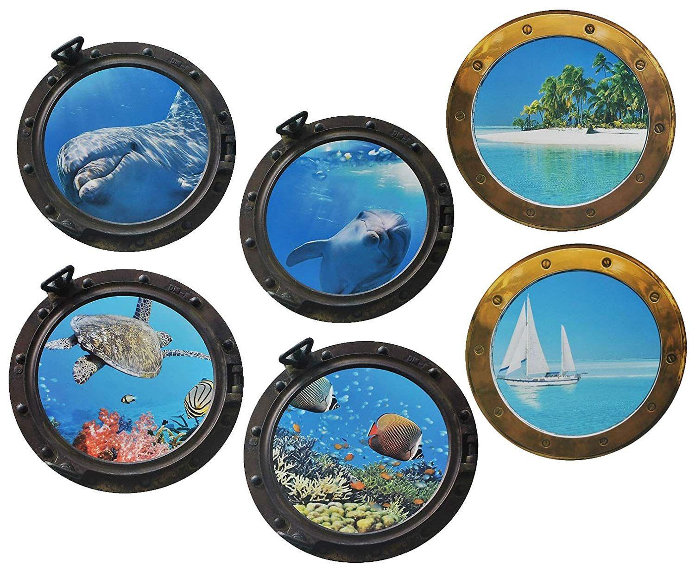 6 Tlg Xl Set Wandtattoo Sticker Bullauge Fenster Schiff Delfin Schildkroten Delphin Fisch Wandsticker Aufkleber Flugzeug Wandaufkleber Badezimmer Fi In 2020 Bullauge Fenster Wandsticker Wandtattoo