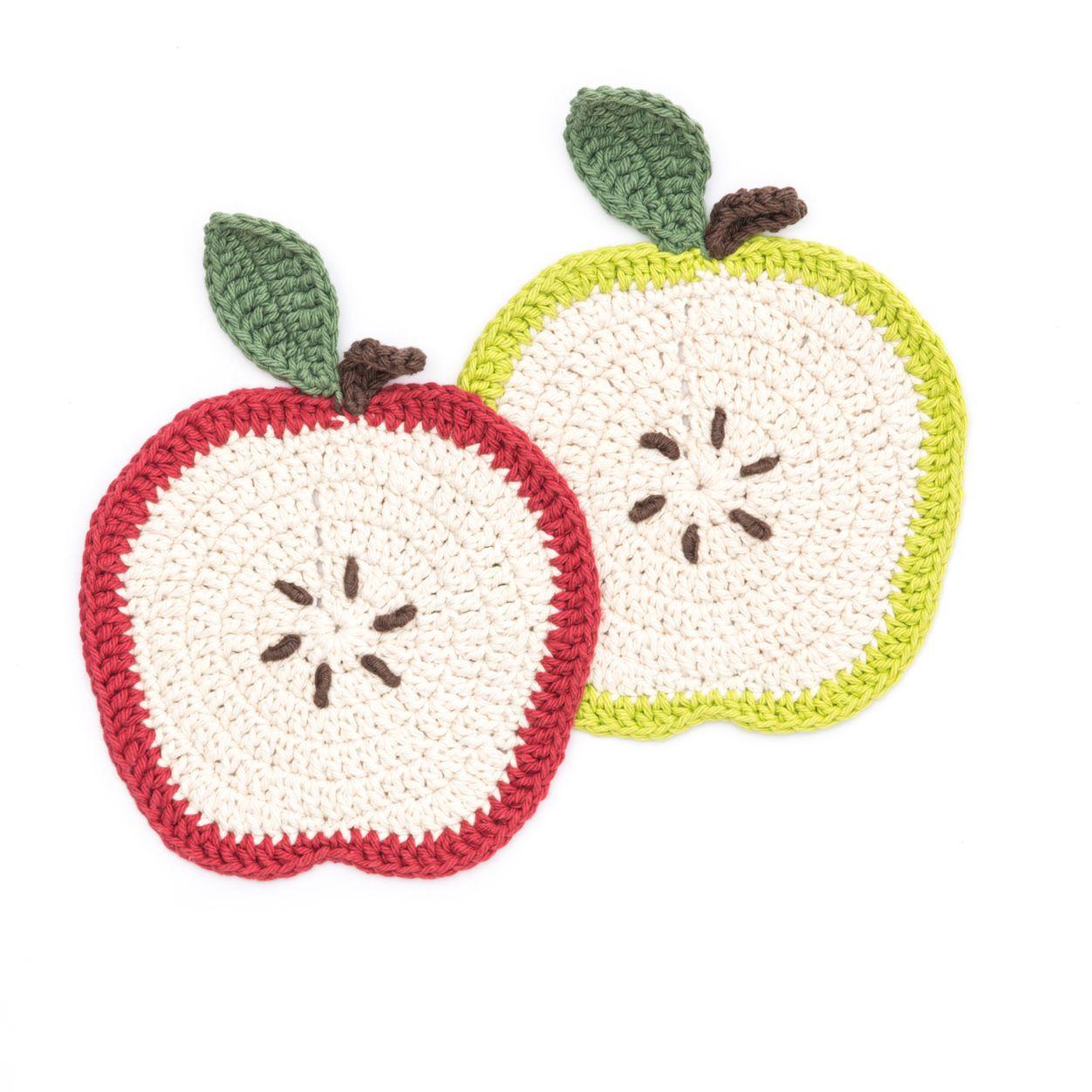 Lily Sugar'n Cream Apple a Day Dishcloth Crochet apple