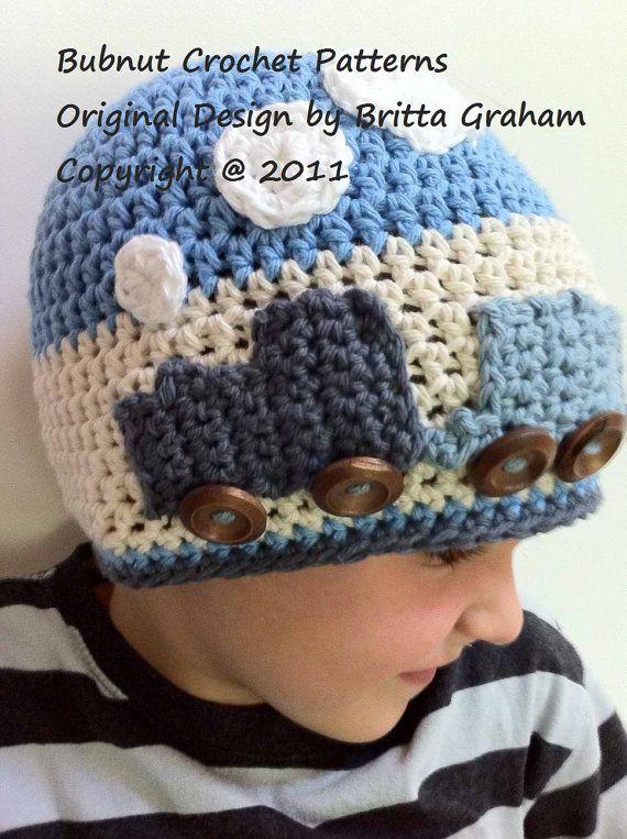 Crochet sombrero patrón Easy Peasy tren sombrero ganchillo | Gorros ...