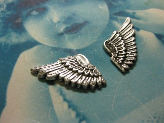 Silver Ox Plated Brass Wings With or Without by dimestoreemporium