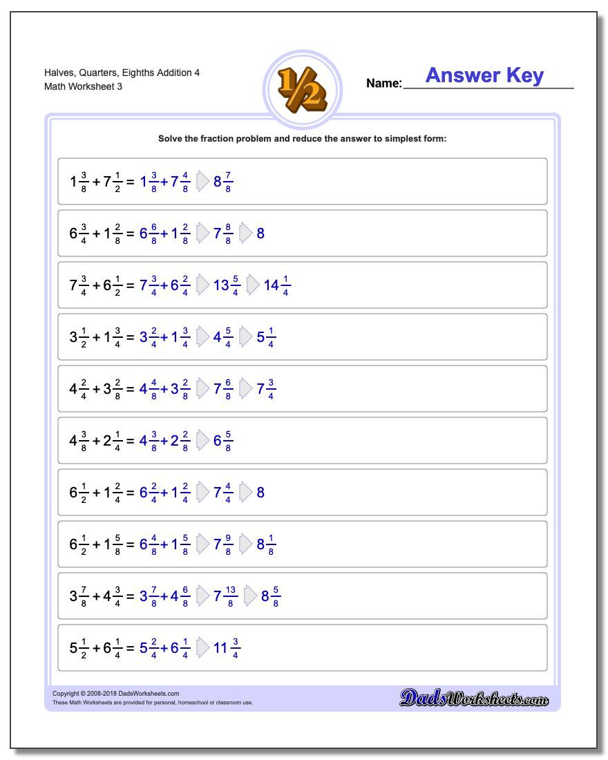 Halves Quarters Eighths Addition Worksheet 4 In 2020 Fractions Worksheets Math Fact Worksheets Fraction Word Problems