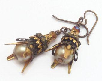 Dangle Earrings Amber Bronze and Gold Tone Long Beaded Metal Earrings Natural Brass Hooks Rustic Earrings Boho Bridesmaid Earings