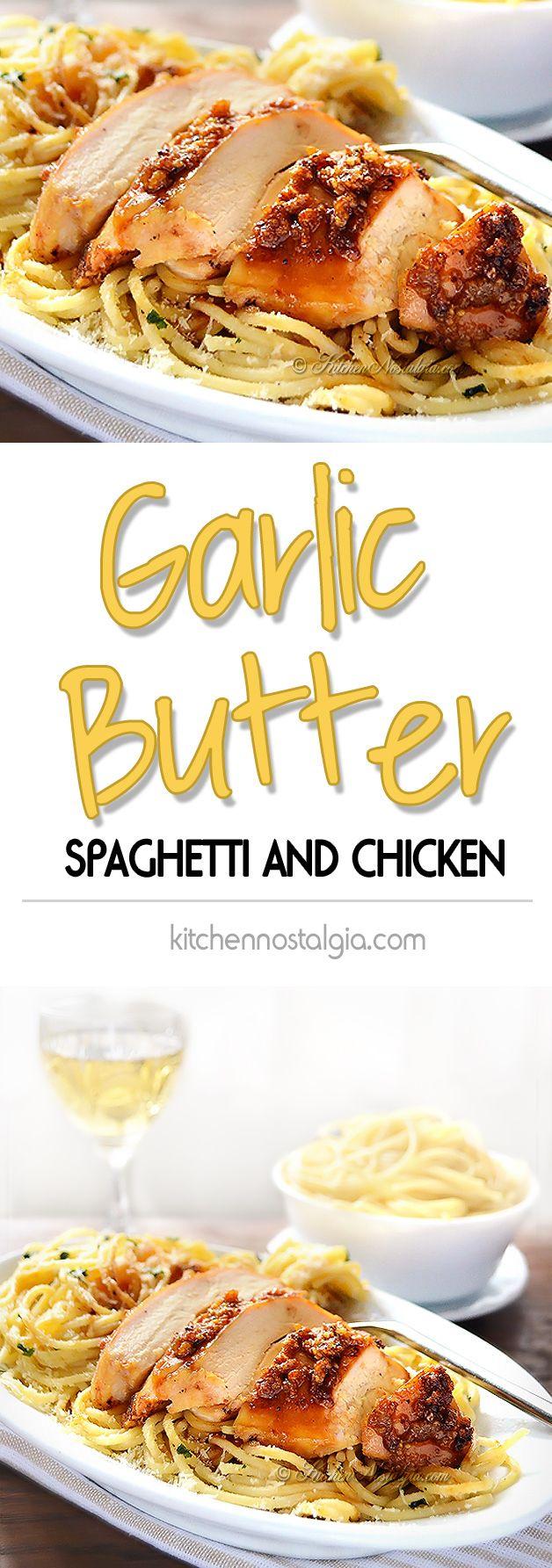 Garlic Butter Spaghetti and Chicken #chickenbreastrecipeseasy