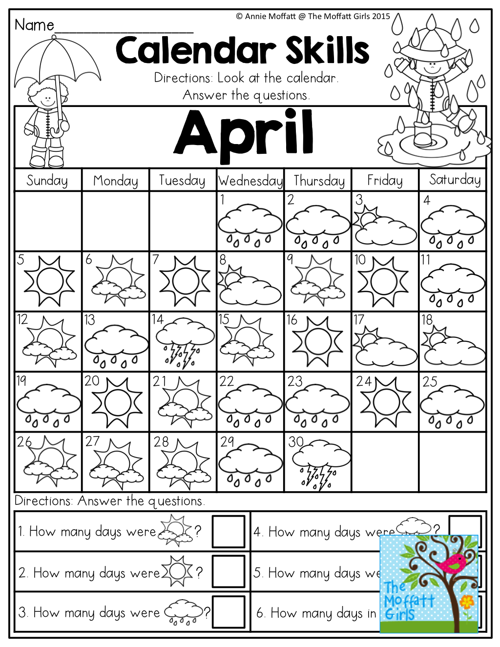April No Prep Packet Kindergarten Distance Learning