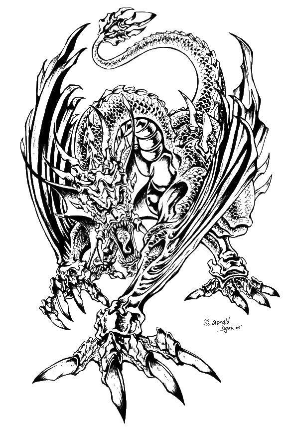 Дракон с шипами   Lineart: Dragons   Pinterest