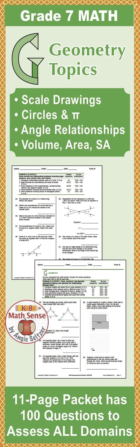 Review Geometry Topics Including Circles Scale Drawings Angle Relationships And Other Grade 7 Math In This Comprehensi This Or That Questions Math Ccss Math [ 1881 x 593 Pixel ]