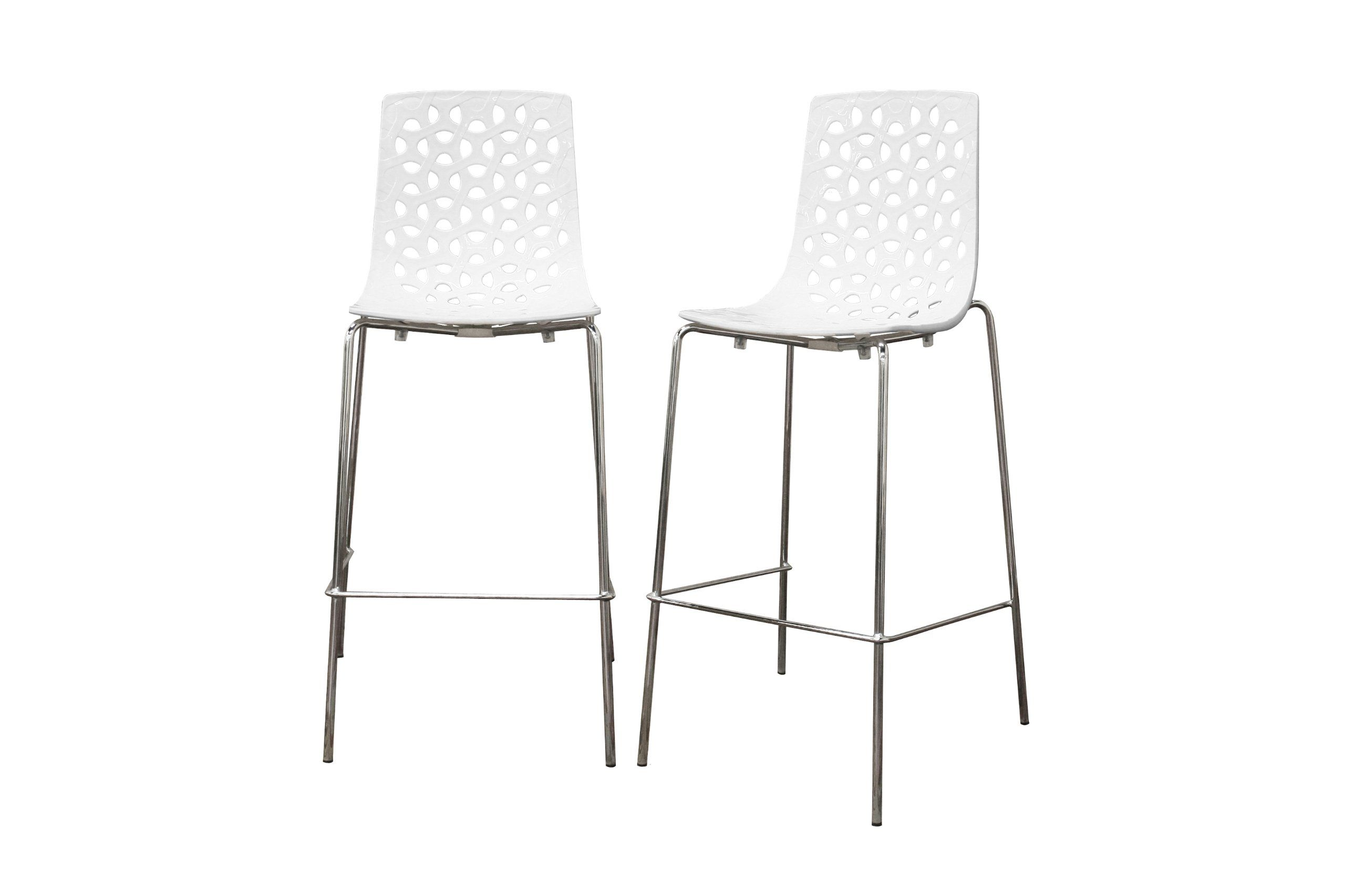Contemporary White Gloss Barstool Come With Stainless Steel Frame And U Shaped Footrest Also Four