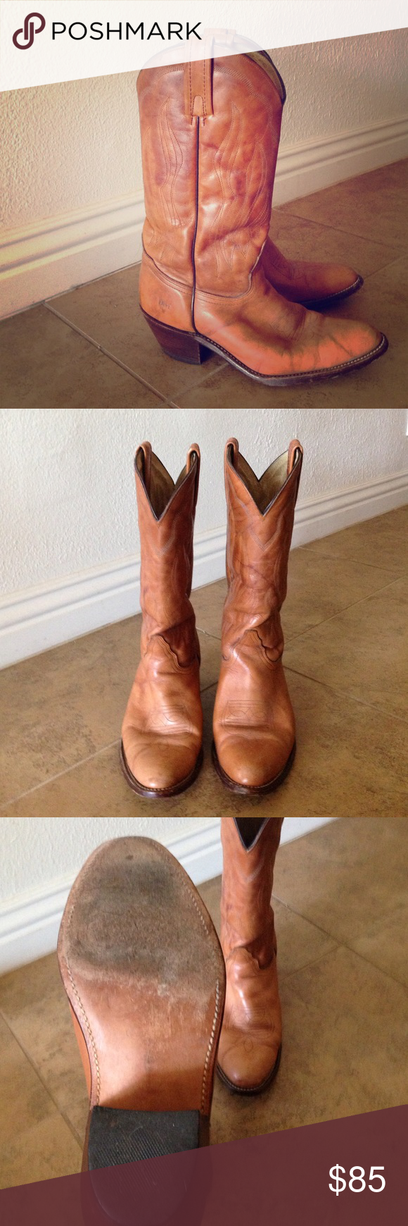 Frye Boots Classic Cowboy(girl) boots. Frye, worn, in good condition. No scuffs. Left inside pull strap slightly worn. An excellent, classic addition to any wardrobe. Women's size 10, roomy 🔮 Frye Shoes Heeled Boots