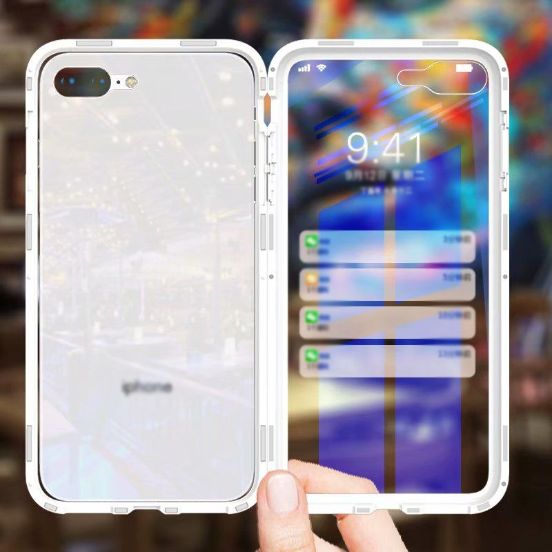 26728a641ed2f2 Luxury Cover Phone Magnetic Flip Case for iPhone X 7 8 Plus 360 Degree Full  Protection PC Border with Tempered Glass Film