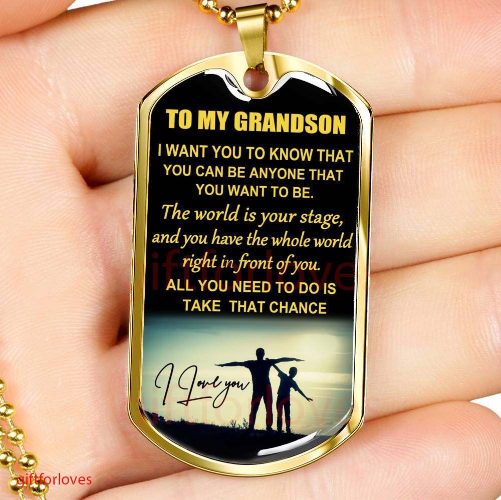 Dog tag for grandson best gift for grandson idea gift