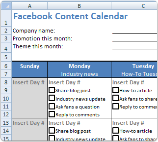 Facebook Content Schedule Plan Your Monthly Updates I Have Been - Monthly social media calendar template