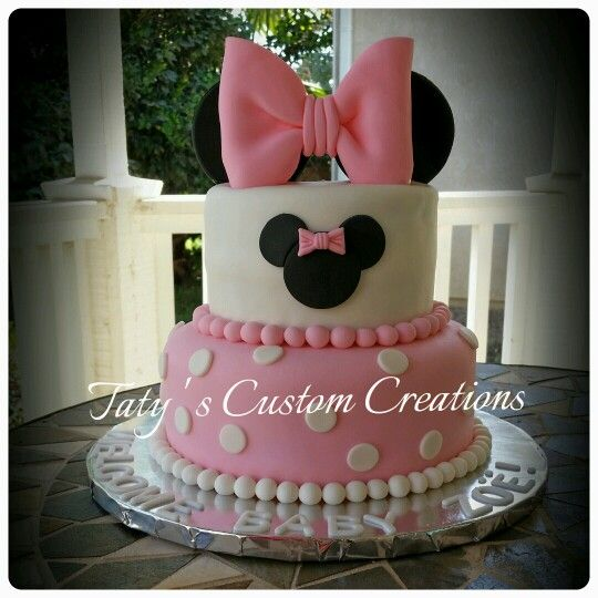 Minnie mouse tiered cake for a Baby Shower