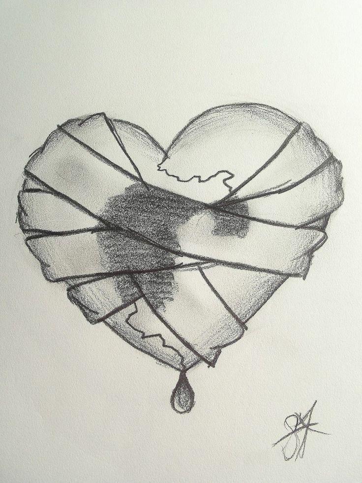Картинки разбитого сердца для срисовки, картинки черно белые
