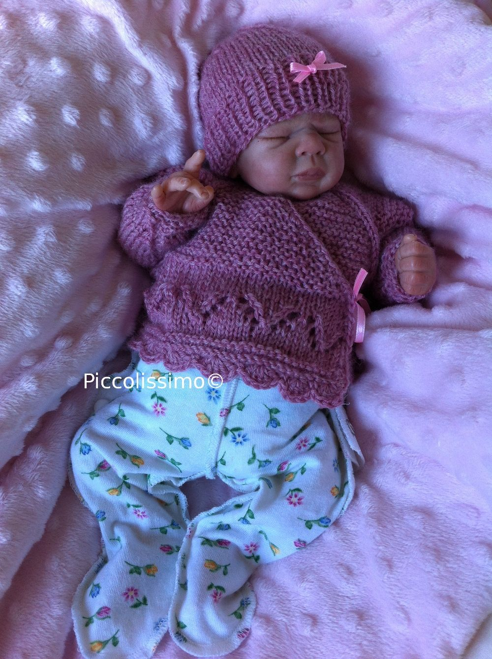 knitted dusk pink cross over top and hat 12 inch micro preemie ...