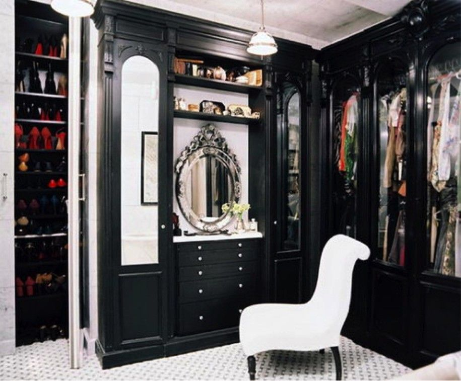Interior, Fascinating Stylish Walk In Closets Along With Wardrobe Black As  Well As White Chair And Lamp: Stunning Design Of Modern Closet Sy.