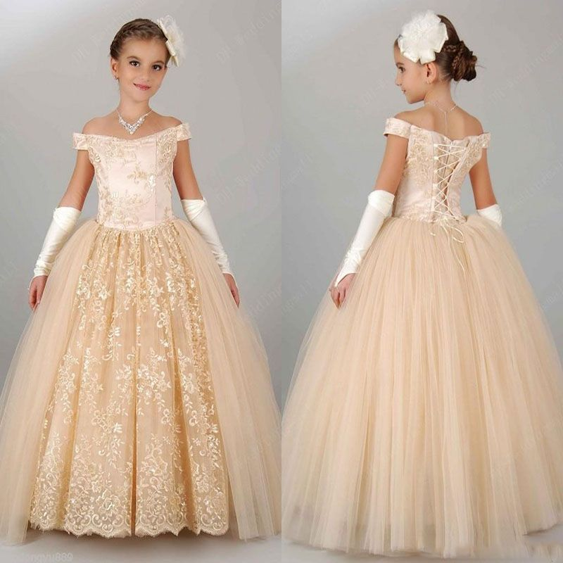 New off shoulder champagne lace flower girl dresses for for Flowers for champagne wedding dress