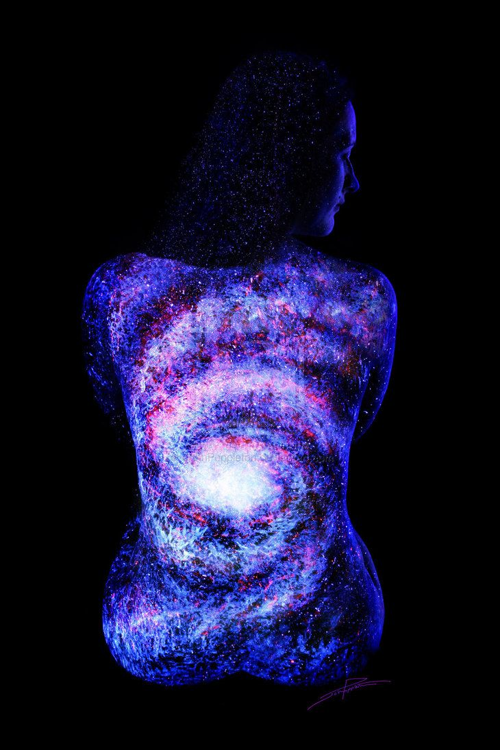 Galaxy girl by johnpoppleton face art body painting body art texture crafts