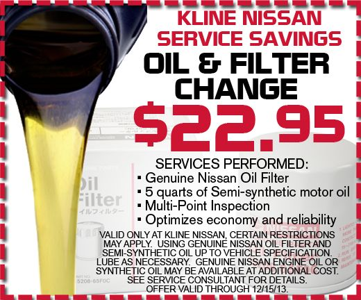 Oil Change Special From Kline Nissan In Maplewood, MN! #oilchange #savings # Coupon