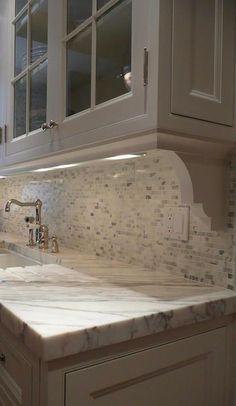 Use Corbels To Create Interest The Light Rail Helps Hide The Under Cabinet Lighting And Adds Trendy Kitchen Backsplash Kitchen Backsplash Grey Kitchen Cabinets