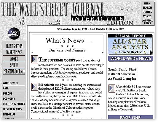 the history of wsj online wall street journal journal on wall street journal online id=67575
