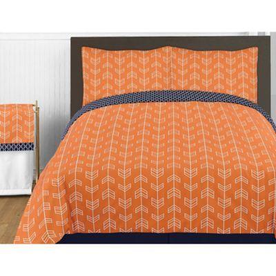 Sweet Jojo Designs Arrow Full Queen Comforter Set In Orange Navy Multi