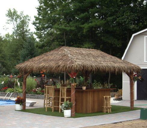 8'x8' Tiki Bar with 10'x12' Tiki Hut Roof | Backyard in ... on Backyard Bar With Roof id=12031