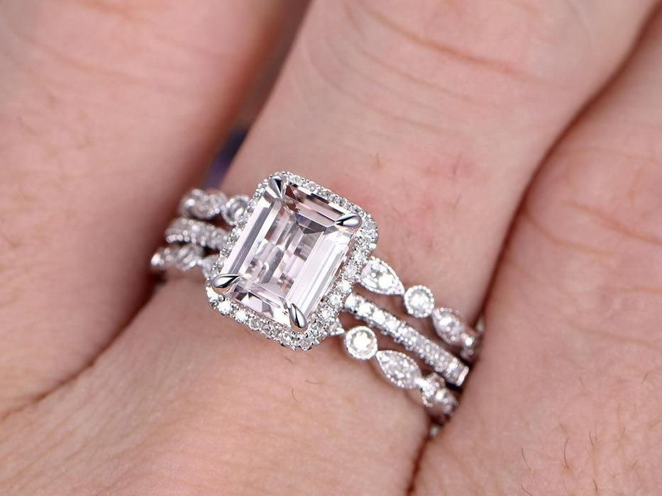 b70437ae9f732 Beautiful 2 Carat emerald cut Morganite and Diamond Trio Wedding ...