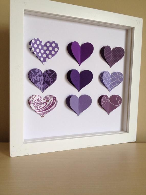 Purple Heart, Personalized Paper Art- perfect for a new baby or little girl's room