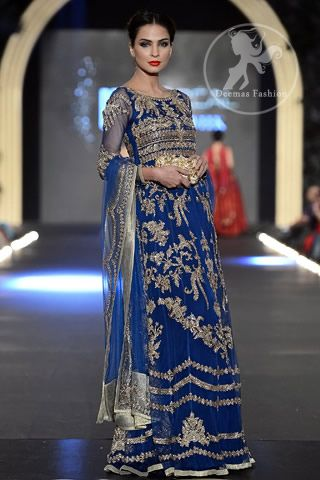 f71c0105ab Pics of blue dresses in pakistan. Royal-blue-heavily-embellished-bridal -maxi-with-embroidered-dupatta