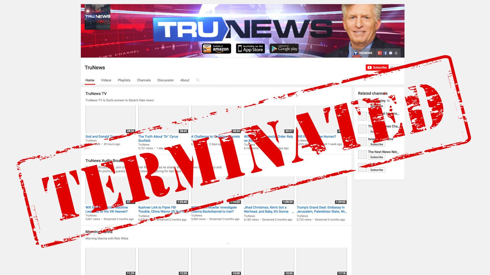 Resultado de imagem para TruNews BANNED youtube