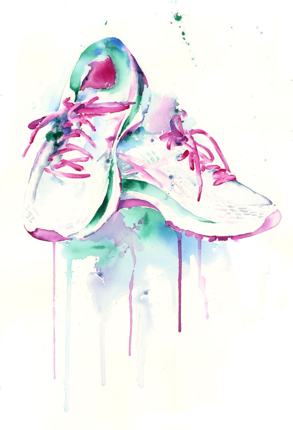 Running Shoes Jamie Hansen 15 X 22 Watercolor On Paper A