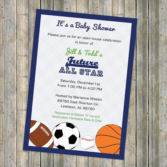 Baby Boy Shower Invitations, All Star Invite, Sports Themed, Future All  Star,