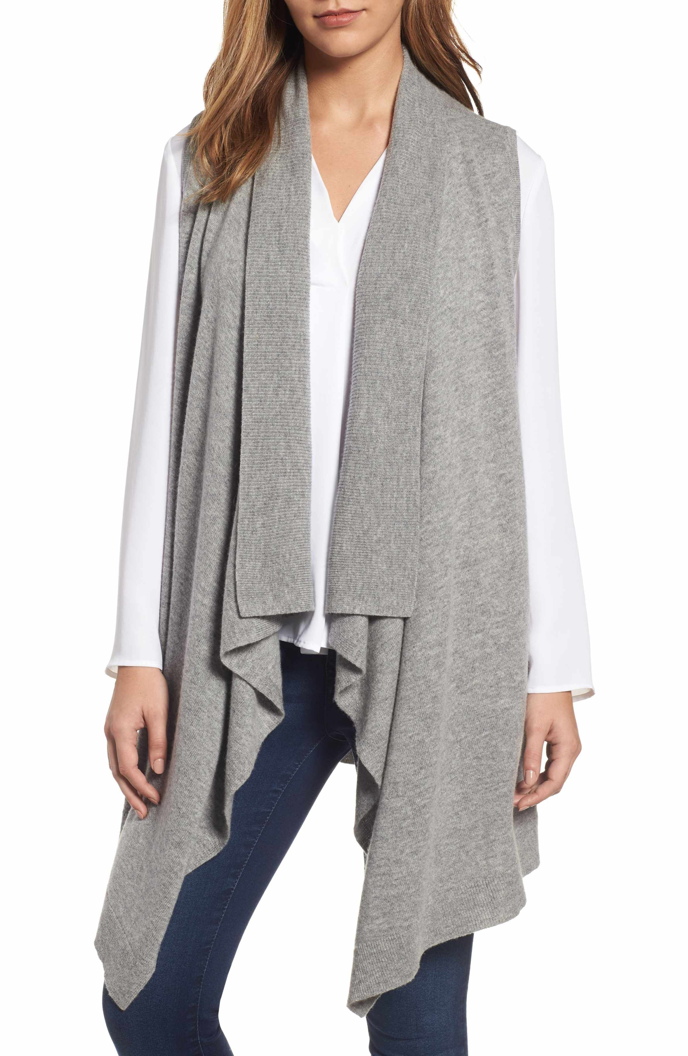 Wool & Cashmere Drape Front Sweater Vest | Cashmere, Nordstrom and ...