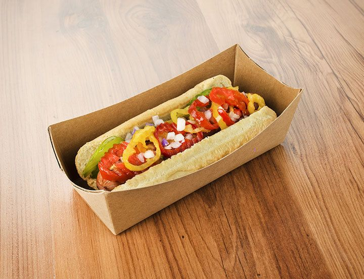 Greenmunch tray to go hot dog box package of 70 21 for Food bar packaging