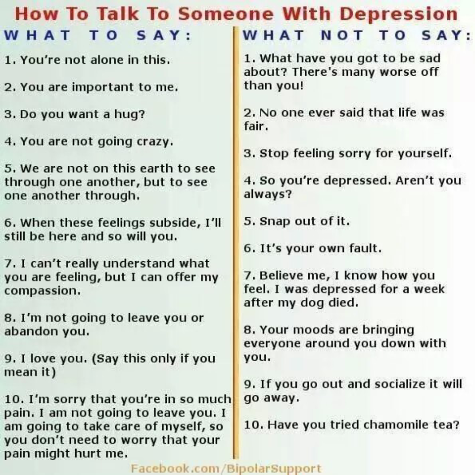 how to talk to someone with depression - what to say, what not to
