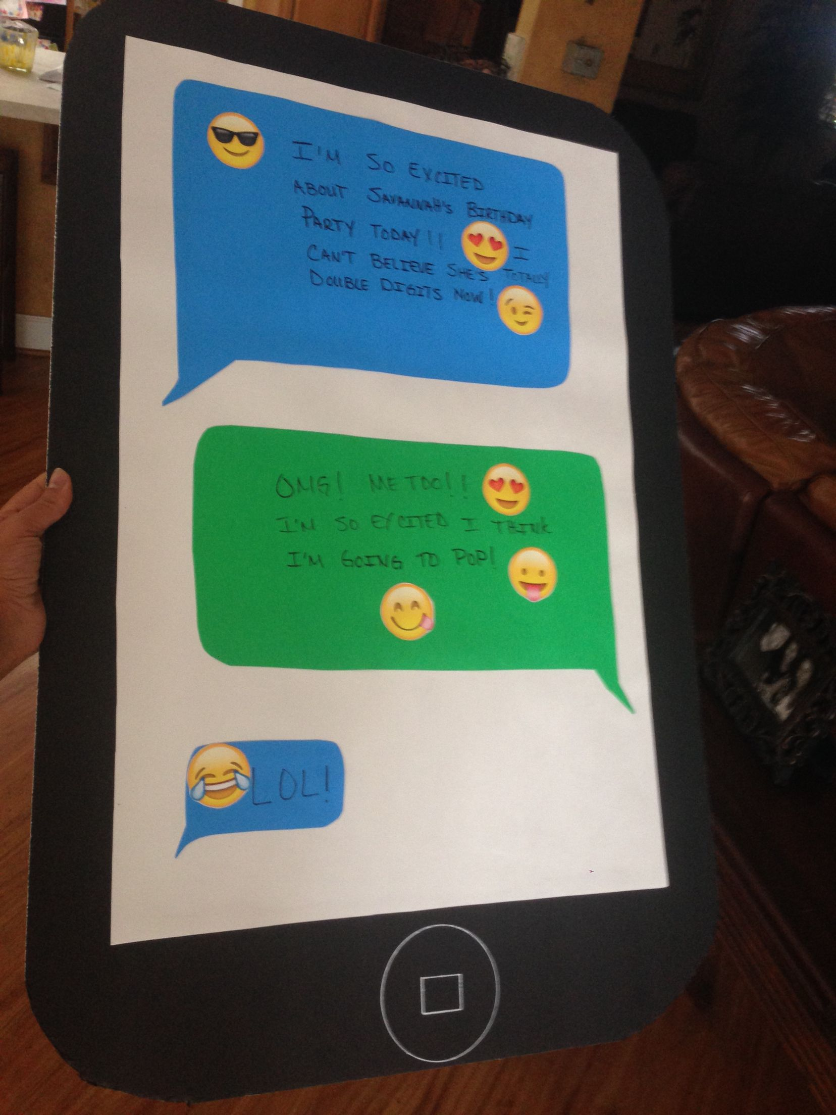 Emoji Party Game Pin The On IPhone We Made This For My Daughters 10th B Day It Was A Total Hit Poster Board Colored Construction