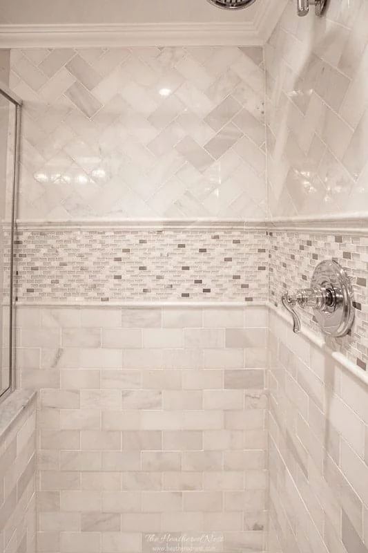 Chair Rail In Shower Google Search Subway Tile Patterns Shower Tile Designs Shower Tile Patterns