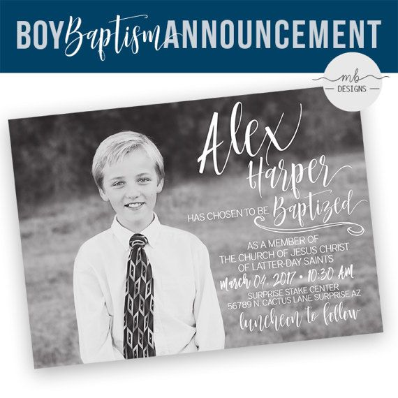 LDS Baptism Announcement- Boy Invitation - Missionary Farewell